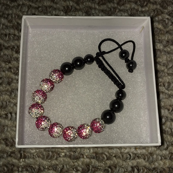 Pink & White Shamballa Bracelet